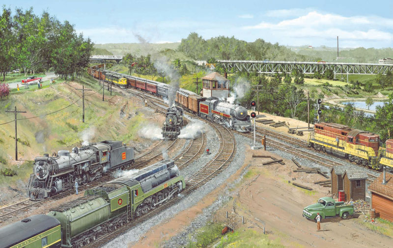 Busy Bay View Trains Jigsaw Puzzle