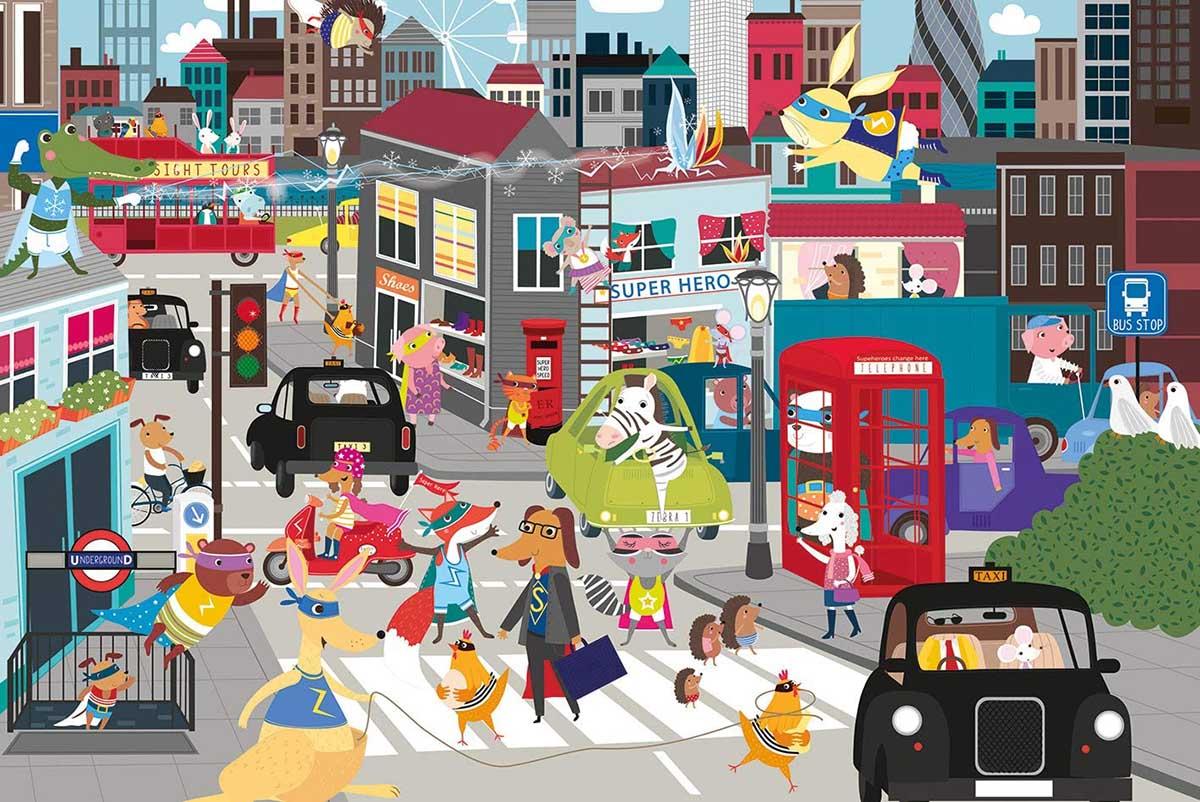 Superhero City Animals Jigsaw Puzzle