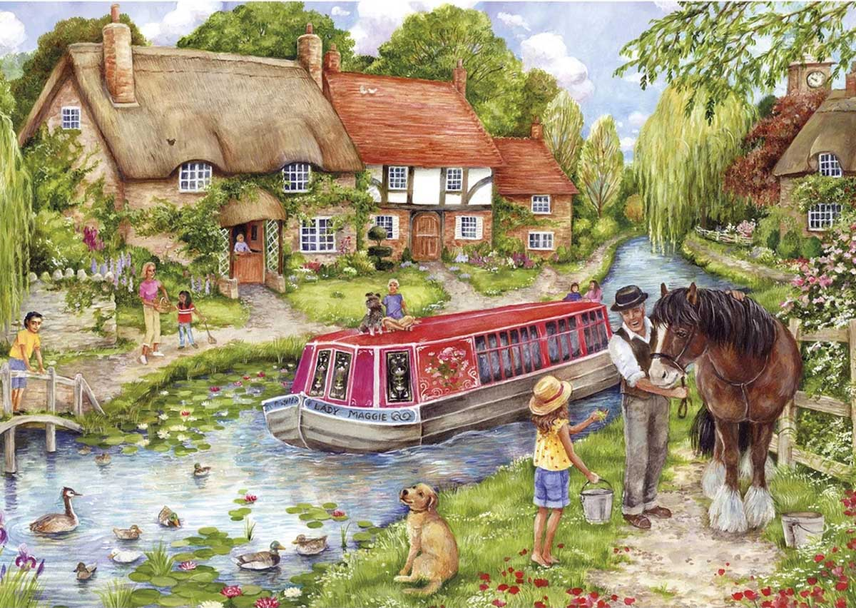 Drifting Downstream Horses Jigsaw Puzzle