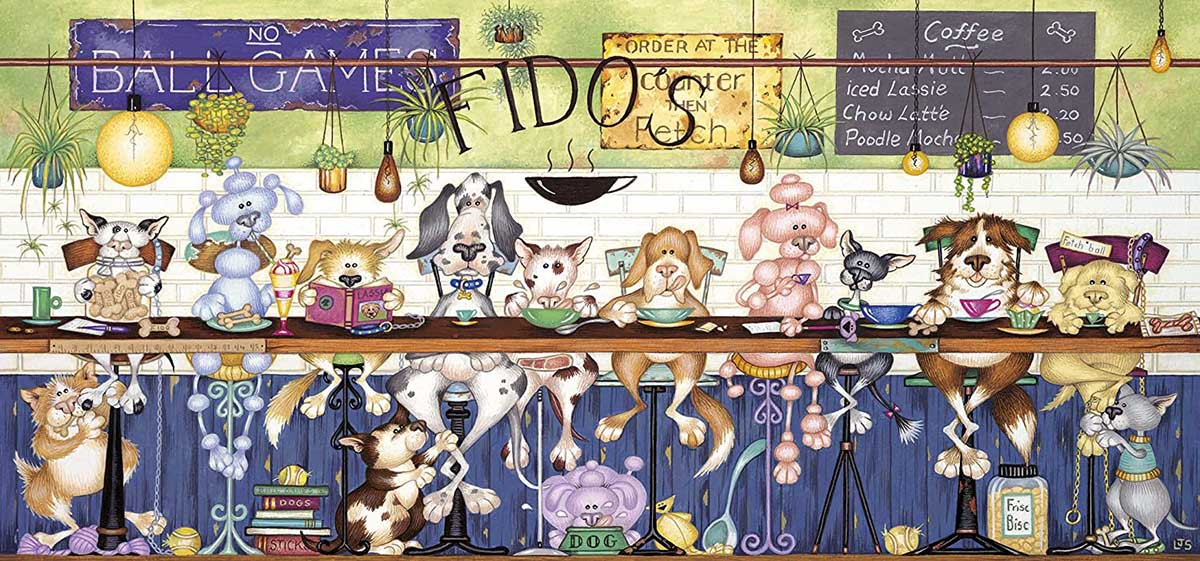 Fido's Coffee Bar Dogs Jigsaw Puzzle