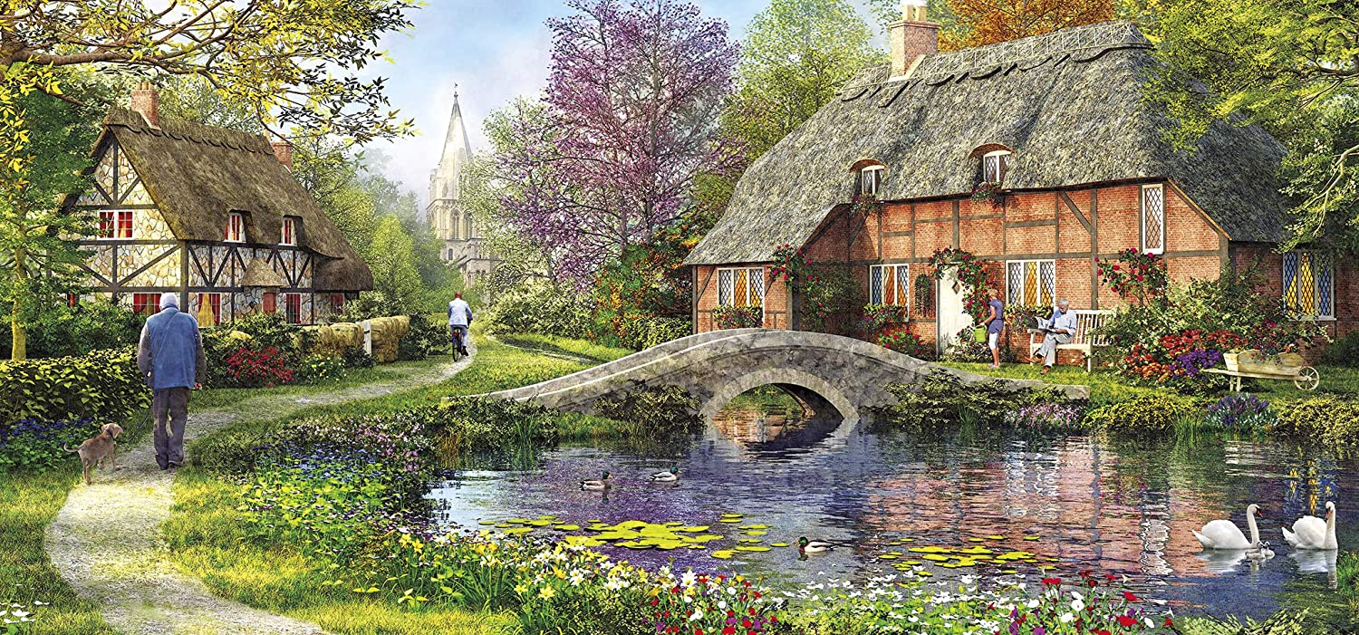 Cottage by the Brook Lakes / Rivers / Streams Jigsaw Puzzle