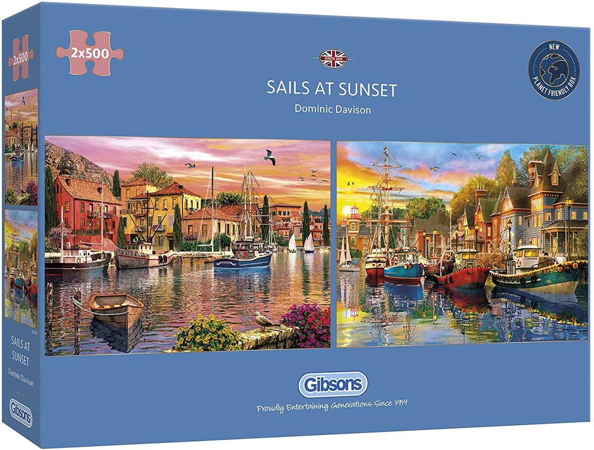 Sails at Sunset Boats Jigsaw Puzzle