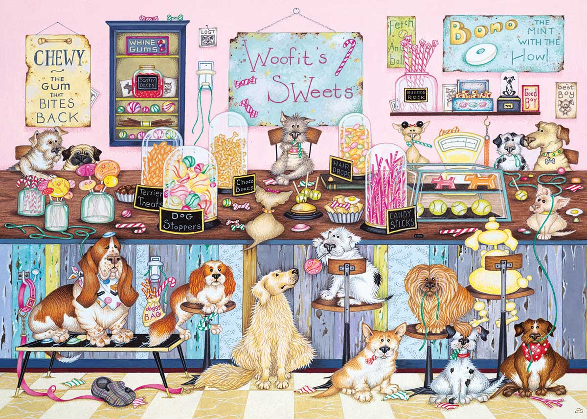 Woofit's Sweet Shop Dogs Jigsaw Puzzle