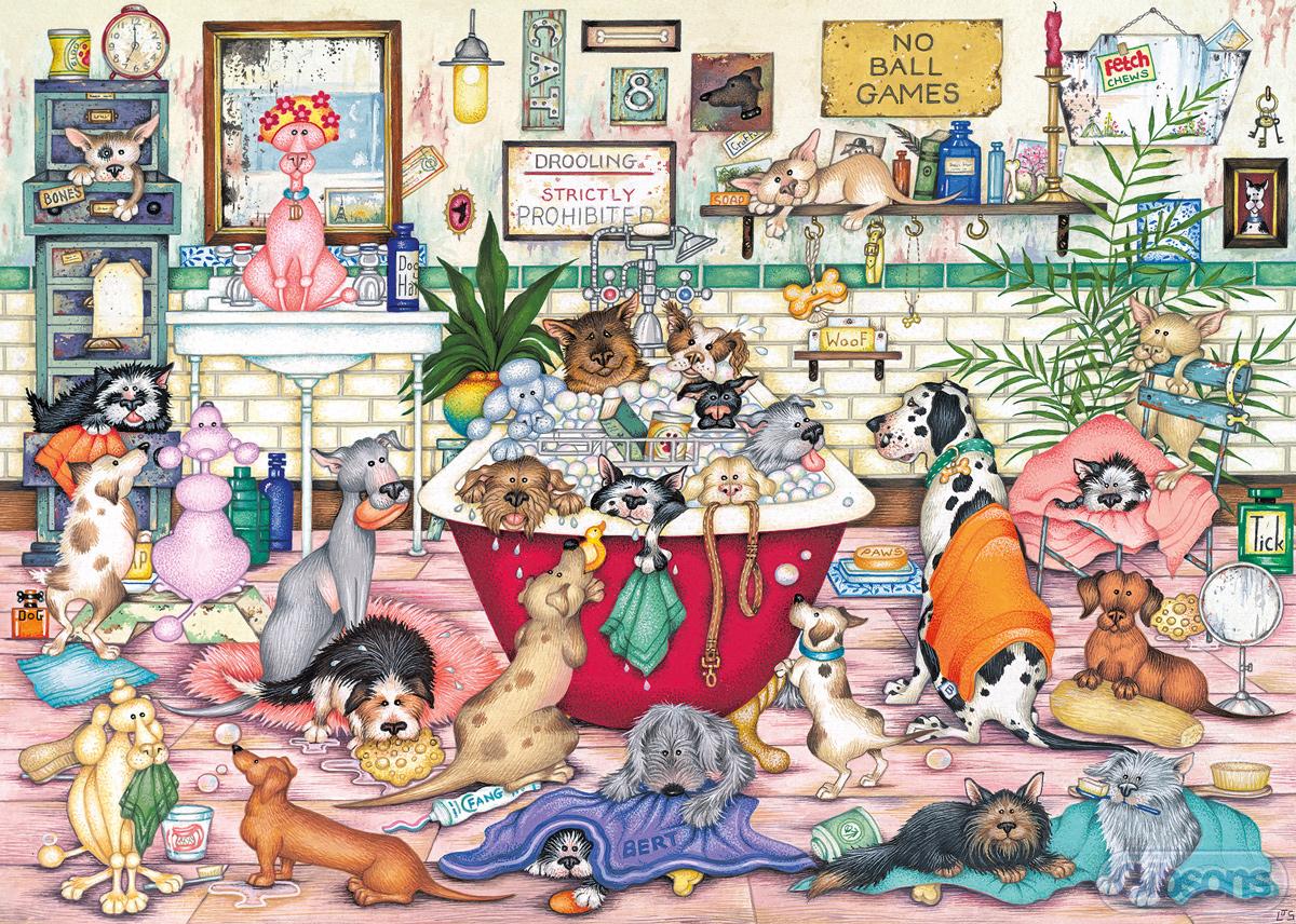 Bert's Bath Night Dogs Jigsaw Puzzle