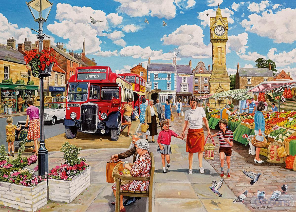 Clocktower Market Street Scene Jigsaw Puzzle