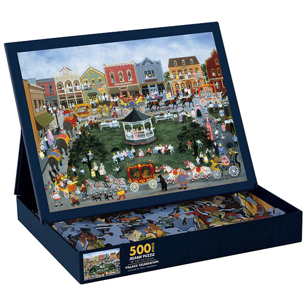 Village Celebration Folk Art Jigsaw Puzzle