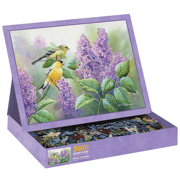 Goldfinch and Lilacs Birds Jigsaw Puzzle