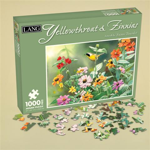Yellowthroat & Zinnias Birds Jigsaw Puzzle