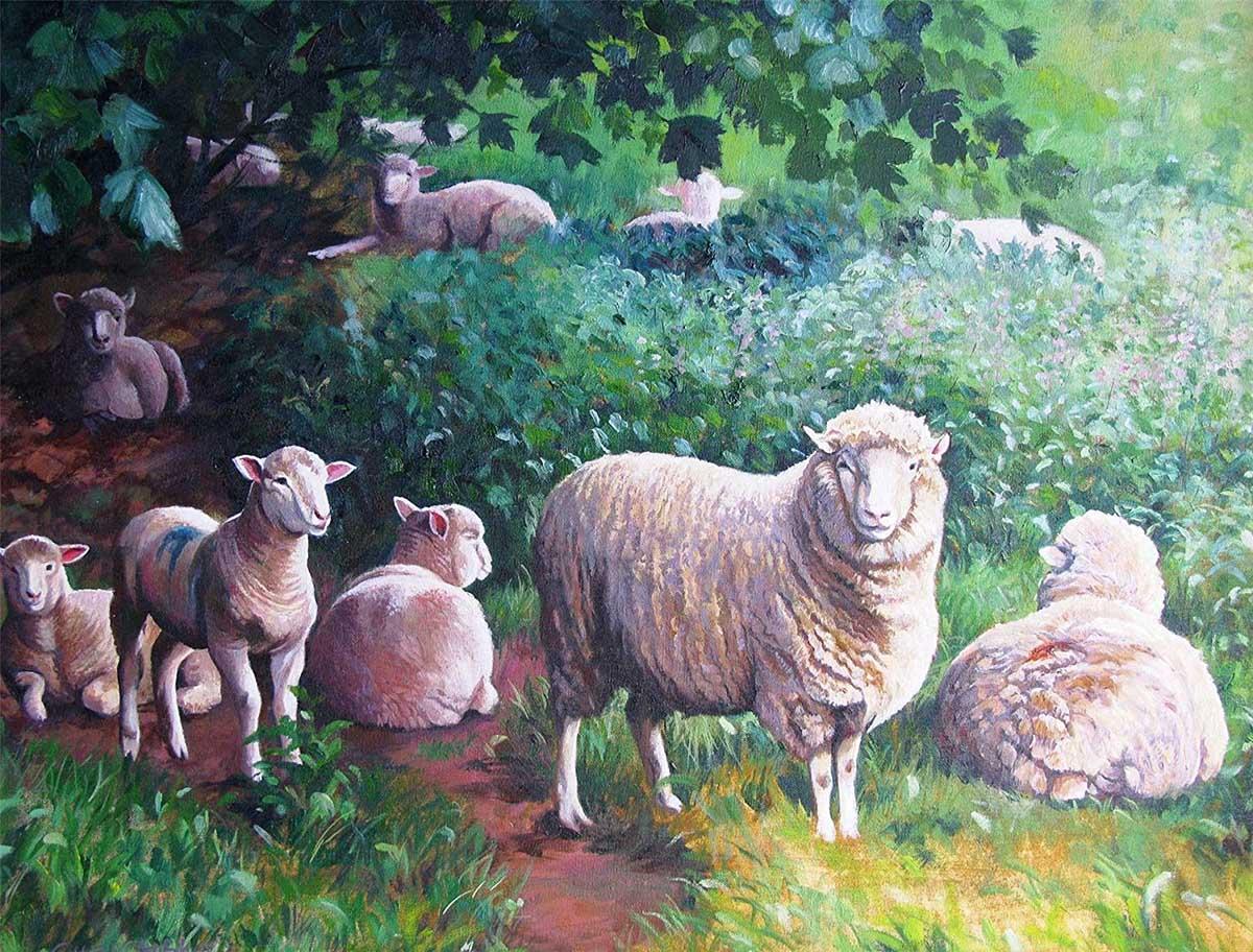 Sheep in the Shade Farm Animals Jigsaw Puzzle