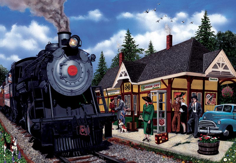 Kirkland Lake Station Nostalgic / Retro Jigsaw Puzzle
