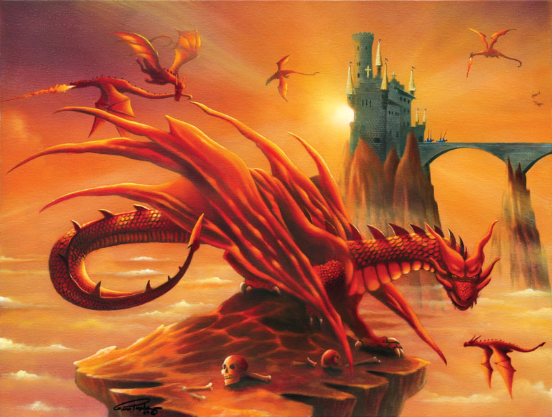 Battle at the Magic Hour Dragons Jigsaw Puzzle