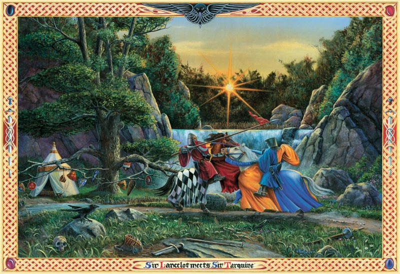 Sir Lancelot Meets Sir Tarquine Fantasy Jigsaw Puzzle