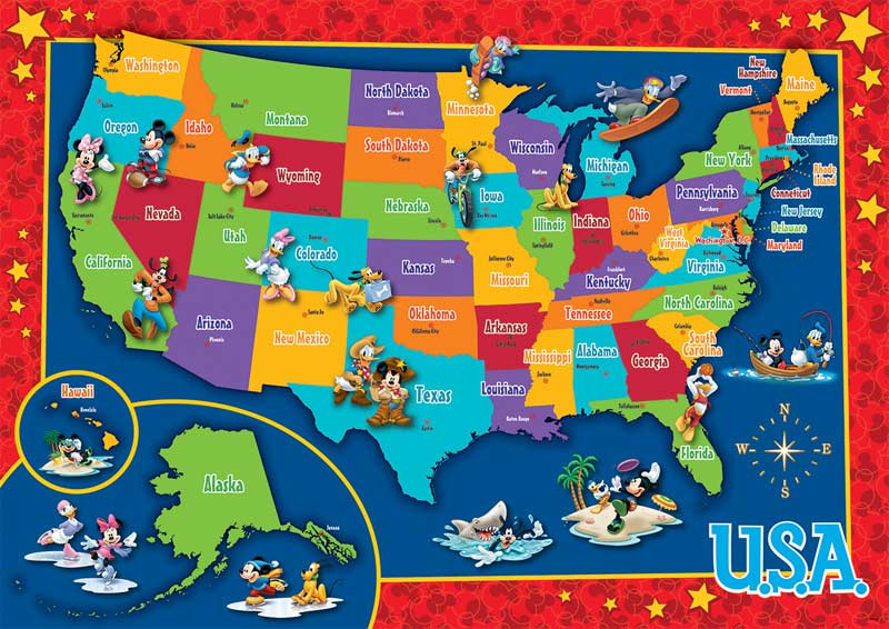 Disney Us Map Puzzle Jigsaw Puzzle Puzzlewarehousecom - Puzzle-us-map