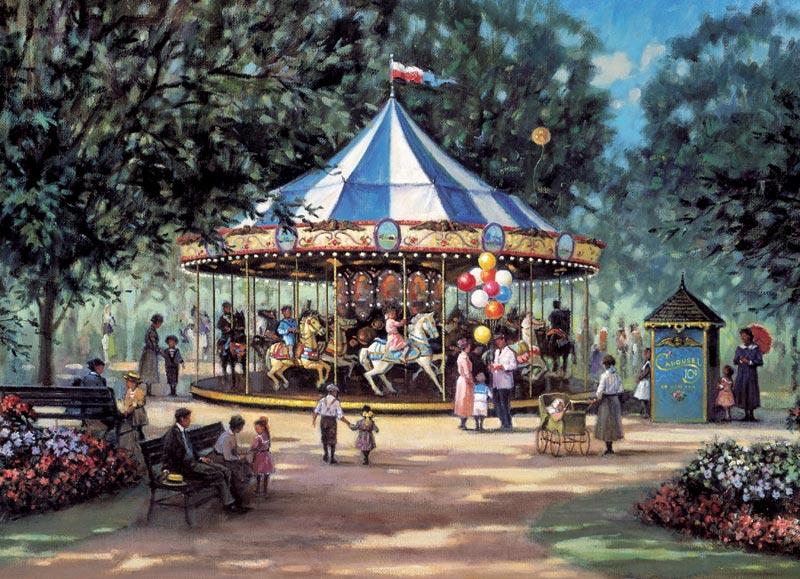 Childrens Carousel Nostalgic / Retro Jigsaw Puzzle