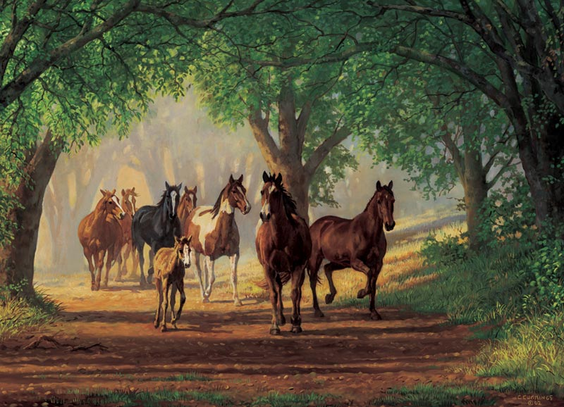Country Lane Horses Horses Jigsaw Puzzle
