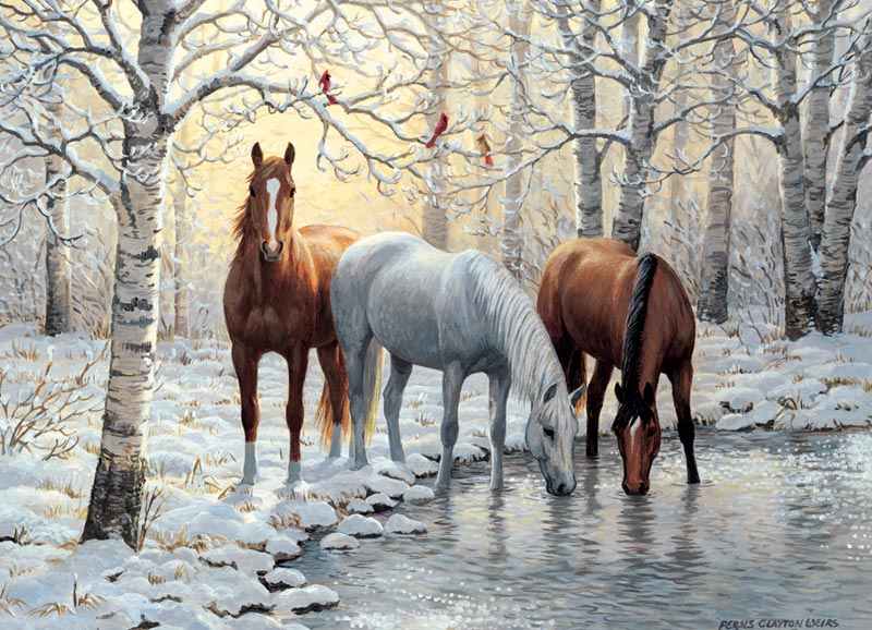 Winter Trio Horses Jigsaw Puzzle