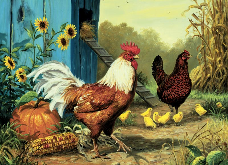 Country Chickens Chickens & Roosters Jigsaw Puzzle
