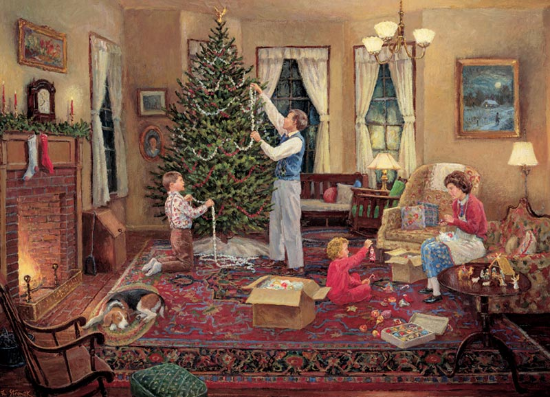 Trimming the Tree Christmas Jigsaw Puzzle