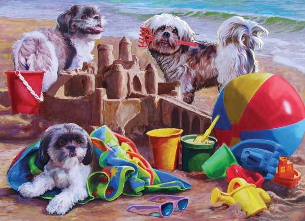 Beach Puppies Beach Jigsaw Puzzle