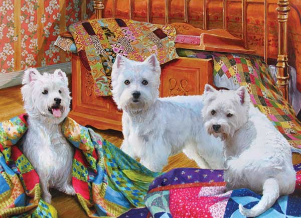 Quilted Westies Dogs Jigsaw Puzzle
