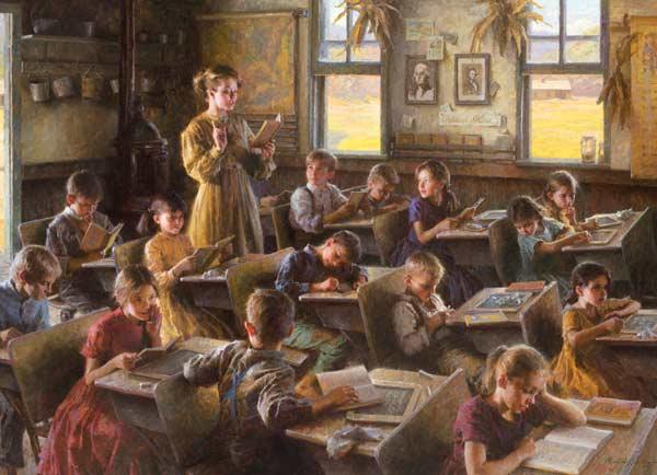 Country Schoolhouse Nostalgic / Retro Jigsaw Puzzle