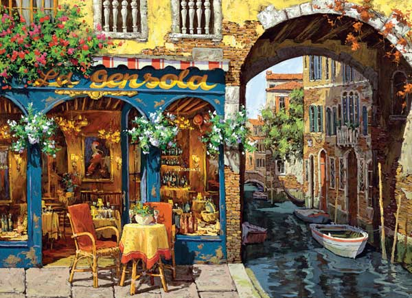 Cafe on the Canal Italy Jigsaw Puzzle
