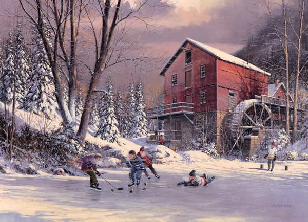 The Old Mill Pond Winter Jigsaw Puzzle