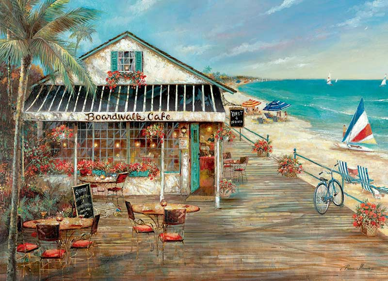 Boardwalk Cafe - Scratch and Dent Street Scene Jigsaw Puzzle