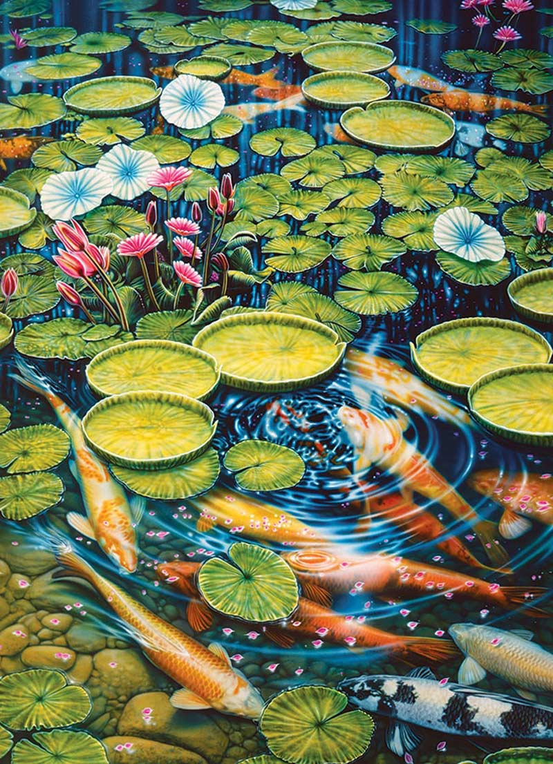 Koi Pond Flowers Jigsaw Puzzle