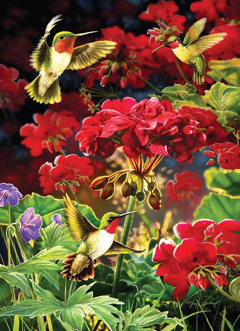 Ruby Geraniums Birds Jigsaw Puzzle