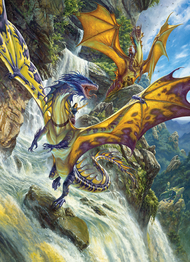 Waterfall Dragons Fantasy Jigsaw Puzzle
