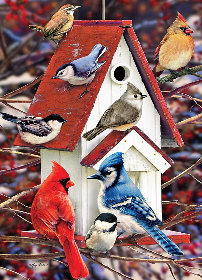 Winter Birdhouse Birds Jigsaw Puzzle