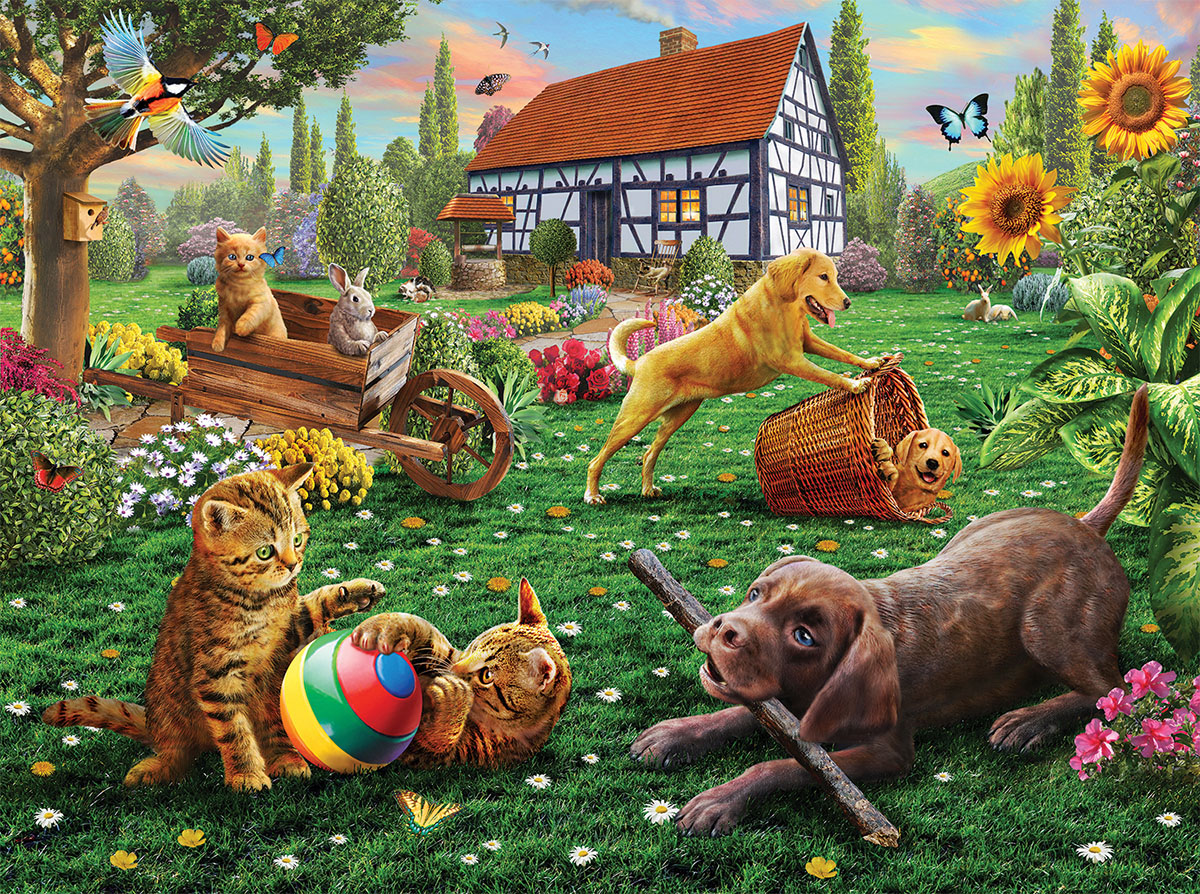 Dogs and Cats at Play - Scratch and Dent Cats Jigsaw Puzzle