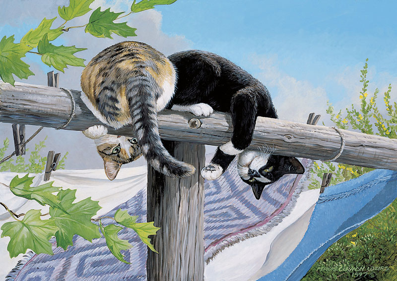 Clothesline Caper Cats Jigsaw Puzzle