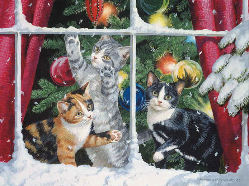 Chasing Snowflakes Cats Jigsaw Puzzle