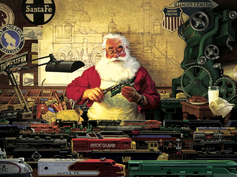 Santa and his Trains Christmas Jigsaw Puzzle