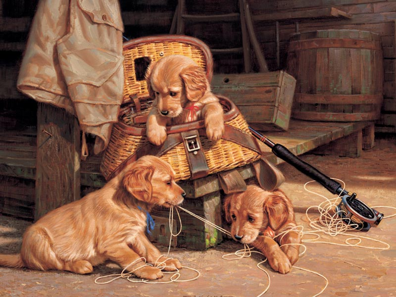 Puppy Mischief Dogs Jigsaw Puzzle
