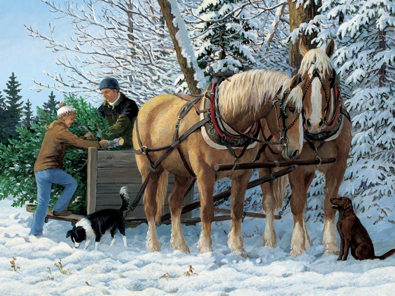 December Tradition Horses Jigsaw Puzzle