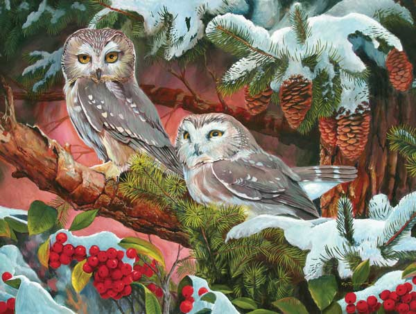 Northern Saw-whets Birds Jigsaw Puzzle