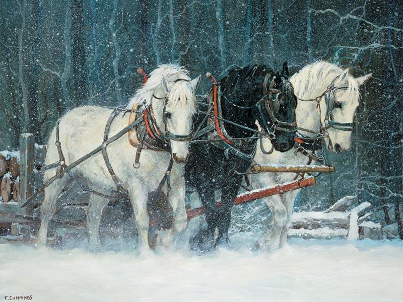 Snowfall Horses Horses Jigsaw Puzzle
