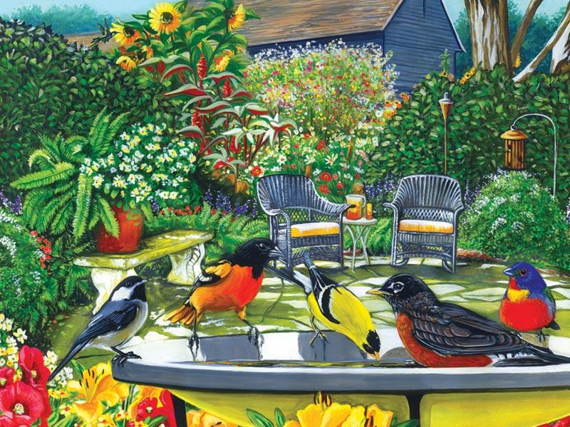 Bird Bath - Scratch and Dent Birds Jigsaw Puzzle