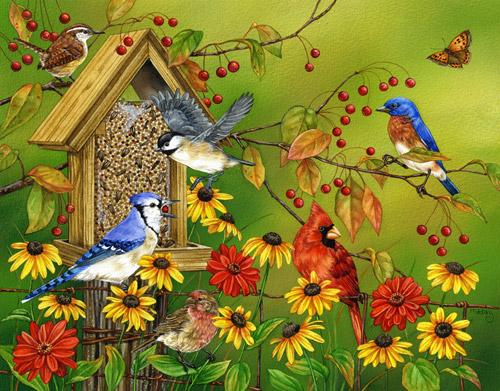 Fall Feast Birds Jigsaw Puzzle