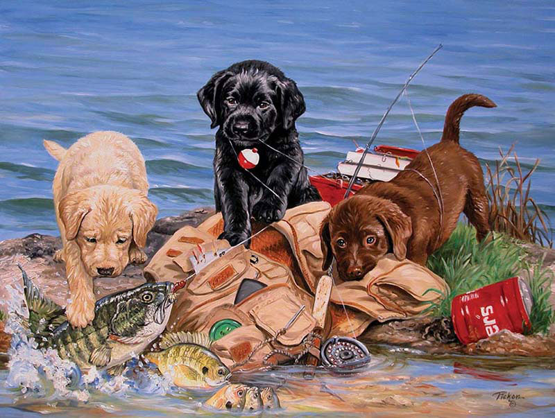 Three Little Fisherman Dogs Jigsaw Puzzle