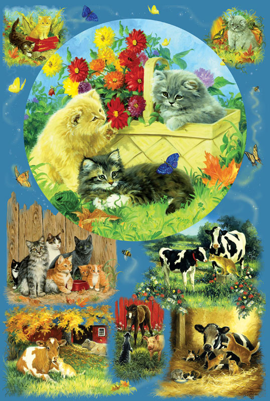 Country Kittens Cats Family Puzzle