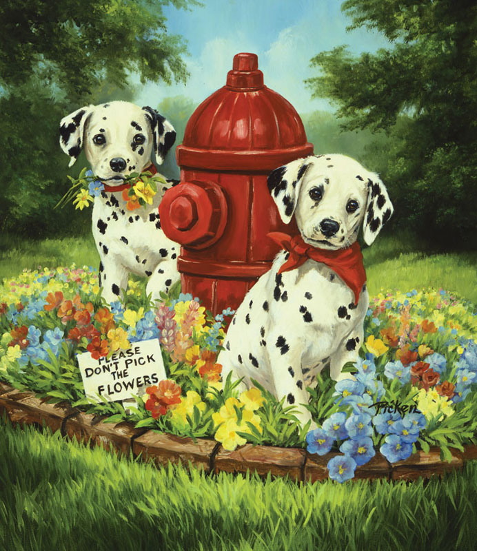 Please Don't Pick the Flowers Dogs Children's Puzzles