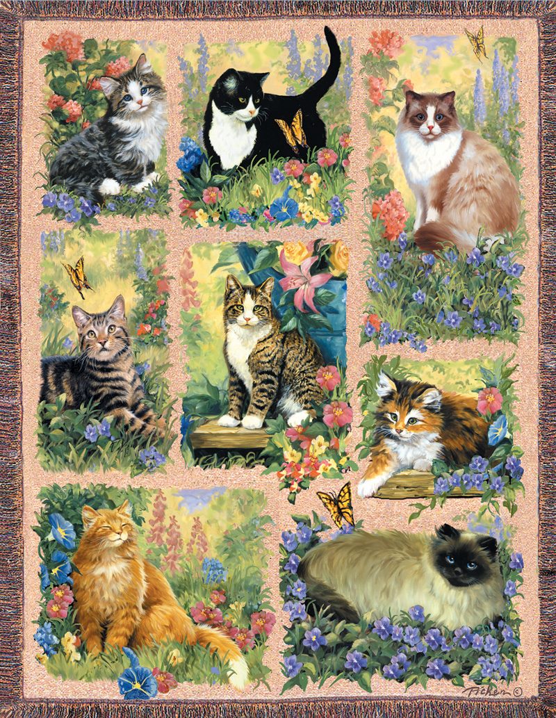 Cat Afghan Butterflies and Insects Jigsaw Puzzle