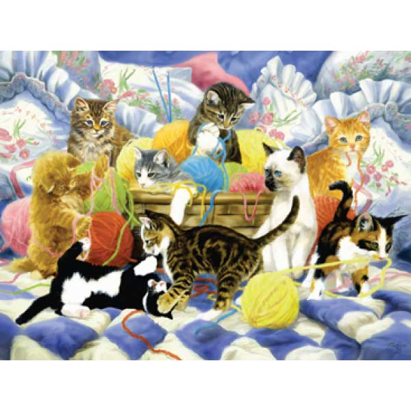 Yarn Party Tonight Cats Jigsaw Puzzle