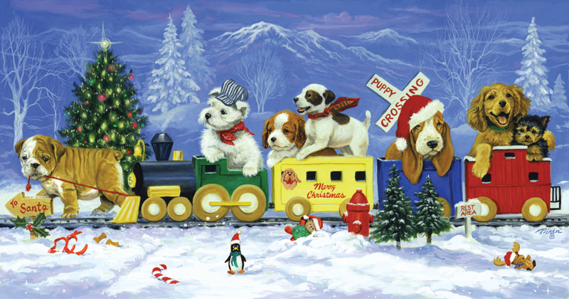 Puppy Train Dogs Jigsaw Puzzle