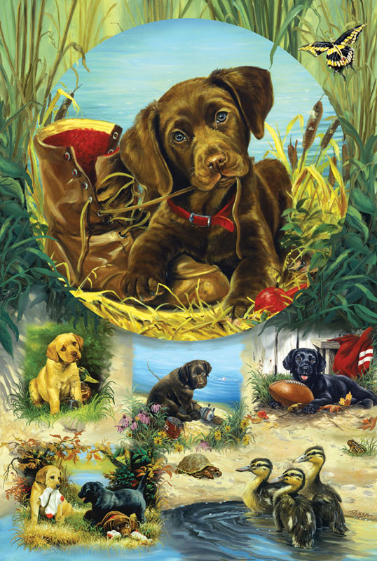 Pond Puppies Dogs Jigsaw Puzzle