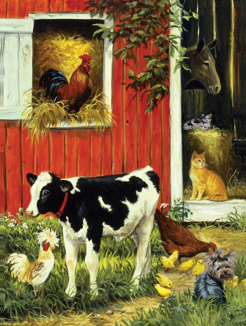 Barnyard Brood Chickens & Roosters Jigsaw Puzzle